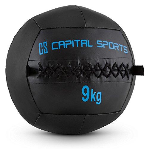 Capital Sports Wallba 9 Balón medicinal de cuero sintético (peso 9 kg,...