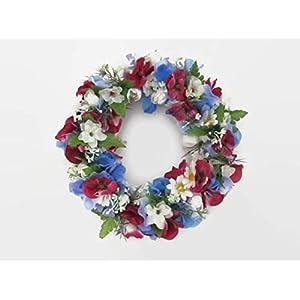 Türkranz Blumenkranz in Blau Weiß Blumenkranz Welcome Deko Blumenkranz Deko Kranz Türkranz Wandkranz Wandschmuck Tischschmuck Blumendekoration
