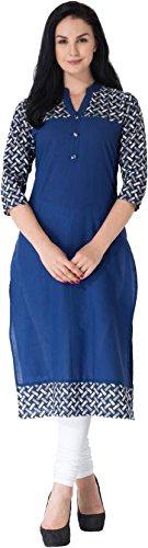 M&D Women's Cotton Printed Kurti (Blue)