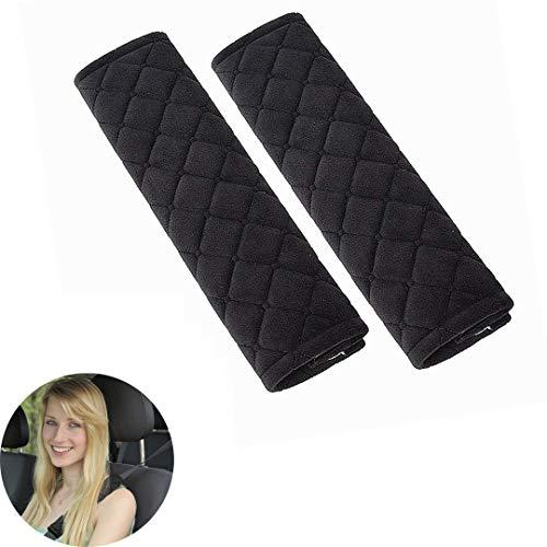 Cojín para cinturón de seguridad, 1 par de, extraíble y lavable, ideal para cinturón de seguridad, mochila, (Negro)