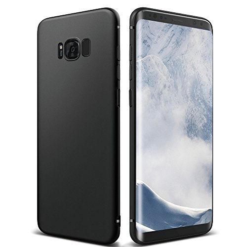 Coque Galaxy S8 , ikalula Galaxy S8 Housse Silicone Flexible gel TPU Bumper Protection Absorption de Choc Résistant aux rayures Très Légère Souple Coque pour Galaxy S8 Case - Jet Black