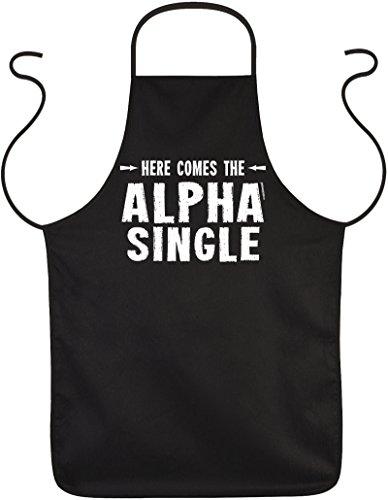 Lustige Schürze -- cooles Geschenk für Singles : Here comes the Alpha Single -- Goodman Design ® -- Schürze schwarz (Alpha-schürze)