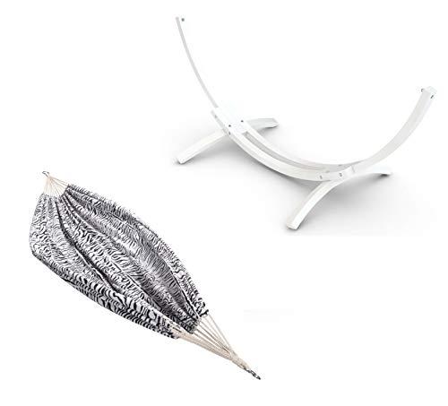 Ampel 24 Special Edition Outdoor Hängematte mit Gestell Mauritius 310 cm weiß, Holz wetterfest, Doppelhängematte Zebra schwarz/weiß ohne Stab
