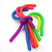 NUOBESTY Flexible Stretchable Colorful Sensory Toys Soft DIY Neon Fidget Toy Anxiety Reliever Stretchy String for Relaxing Therapy