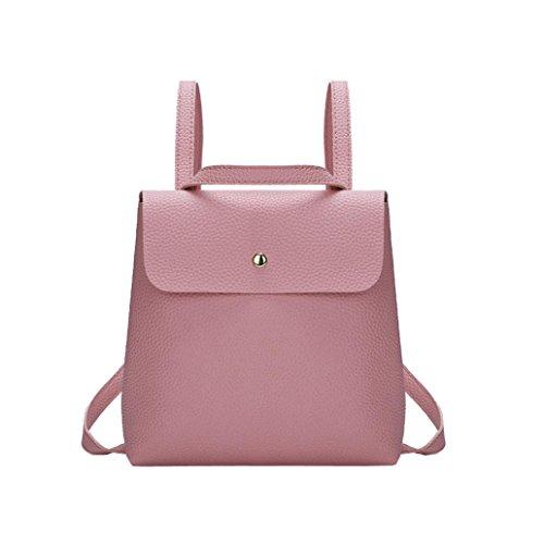 QMBER Handtaschen Damen, Damen Doppel-Schultertasche Leder einfach (Rosa)