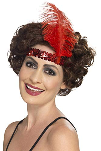 Pailletten Flapper Red Kostüm - Smiffys Damen Flapper Stirnband mit Feder, One Size, Rot, 44663