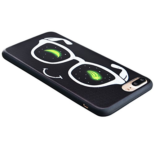 TPU Custodia Morbido per iPhone 6 Plus / iPhone 6S Plus (5.5 pollici), HB-Int 3 in 1 Nero Disegno Elegante borsa Custodia in Silicone Gel Accessori di Protettiva Cassa Caso Anti Scivolo Bumper Coperti Glasses