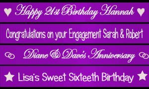 Personalisiert Purple Fahne Banner 1.2 Meter Perfect decoration for Weddings, anniversaries, 16th 18th 21st 25th 30th 40th 50th 60th birthday parties, wedding engagement, hen parties
