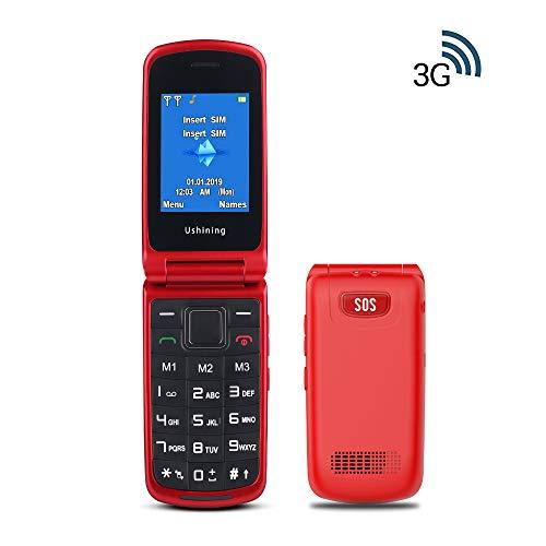 Ukuu 3G Klapphandy mit großen Tasten und ohne Vertrag, Seniorenhandy mit Notruf-Knopf und Taschenlampe 2,4-Zoll-Display Dual SIM SOS-Taste Klapp-Handy Rot