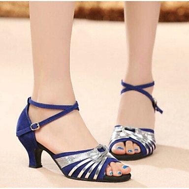 Scarpe da ballo - Non personalizzabile - Da donna - Balli latino-americani - Tacco cubano - Velluto - Nero / Blu / Altro Blue