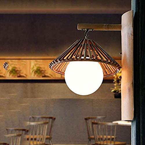 Hplights Retro Wandleuchte Creative Bambus NatüRliche Handweberei Wandlampe DéCoration Bar Restaurants Café Club E27 Einfach Hutform -