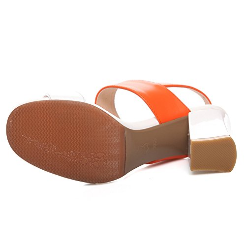Damen Open Toe Sandalen Toe Strap Blockabsatz Kuhleder Slingback Orange