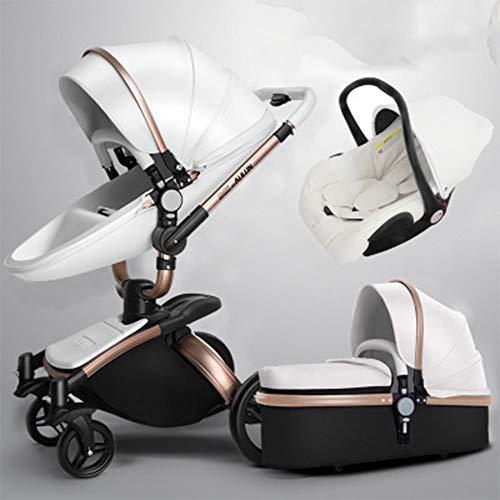 Passeggino può sedersi passeggino pieghevole reclinabile alto paesaggio 0-6 mesi shock baby car White1