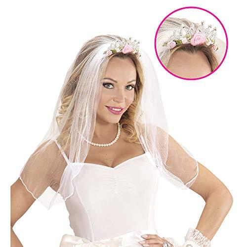 Party Hen Motto Kostüm - Widmann 07063 Tiara mit Brautschleier mit Rosen und Diamanten für Erwachsene, Einheitsgröße