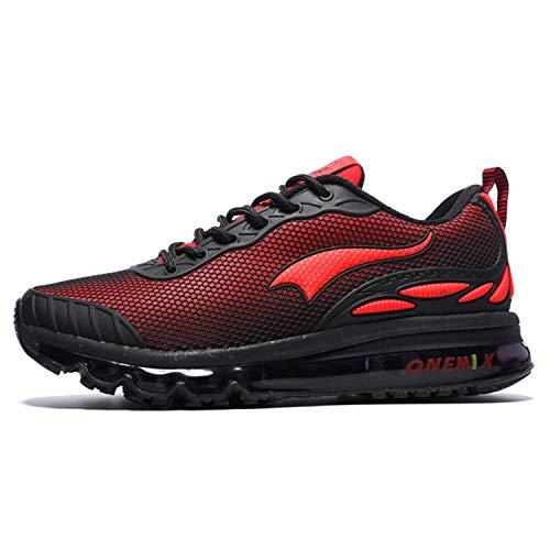 Onemix Uomini Air Cushion Scarpe Running Uomo Maglia Ginnastica Sportive Outdoor Sneakers Palestra Tennis Scarpe da Corsa nero rosso 42 EU