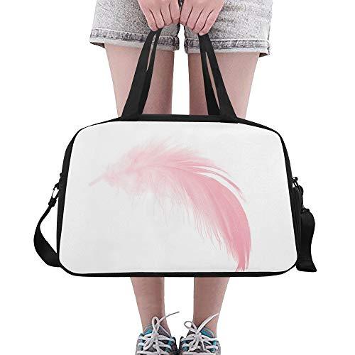 Yushg Rosa weiche Noten Feder große Yoga Turnhalle Totes Eignung Handtaschen Reise Seesäcke mit Schultergurt Schuhbeutel für Übung Sport Gepäck für die Frauen der Frauen im Freien -