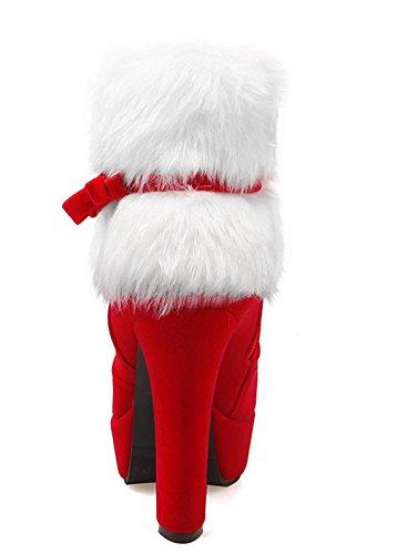 YE Damen Winter Wildleder High Heels Blockabsatz Plateau Stiefeletten mit Fell Schleife Reißverschluss Warme Ankle Boots Rot