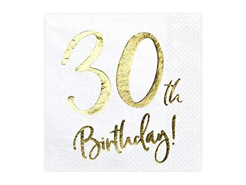 20 Servietten 30th Birthday, white, 33x33cm (1 pkt / 20 pc.) SP33-77-30-008