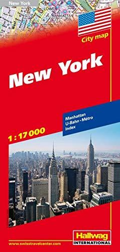 New York Stadtplan 1:17 000: Manhattan, U-Bahn, Index (Hallwag Stadtpläne) -