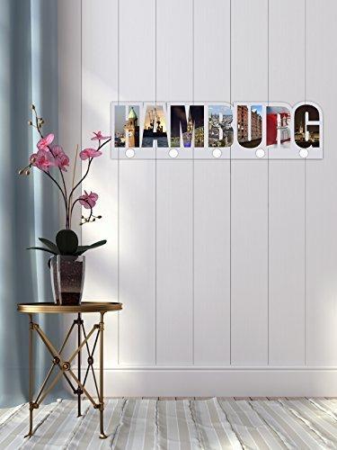 garderobe hamburg Livingstyle & Wanddesign Garderobe, Motiv Hamburg farbig bunt