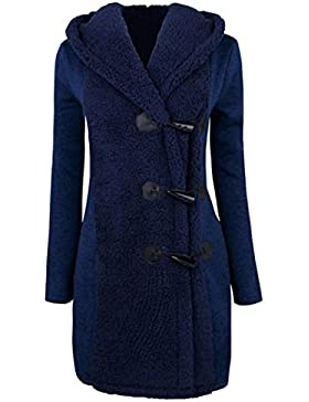 Abrigo grueso para mujeres,QinMM Abrigo de botones cálidos Sudadera con capucha de parka coat