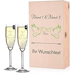 Leonardo Premium Geschenkbox mit 2 Sektgläser zur Hochzeit mit Gratis Gravur und bedruckter Privatglas Holzbox