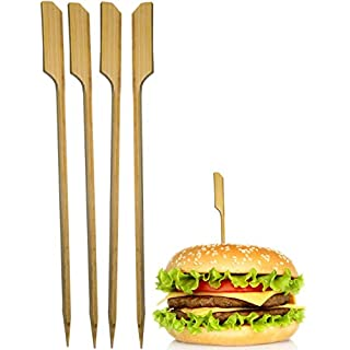 HomeTools.eu - 50x Hamburger Spieße, Sticks | BBQ Grill Cheese Burger | Bambus Fahne, Fixieren und Halten Den Burger Zusammen! | Holz, 15cm, 50 Stück
