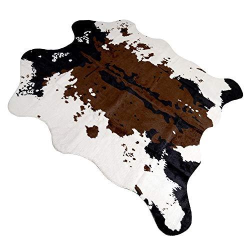 leegoal Teppich Aus Kuhfell/Zebra, Kunstfell Matten Dekoration für Schlafzimmer Wohnzimmer und Familie,Farbe:Schwarz und Weiß,Größe:110x75cm/160x140cm