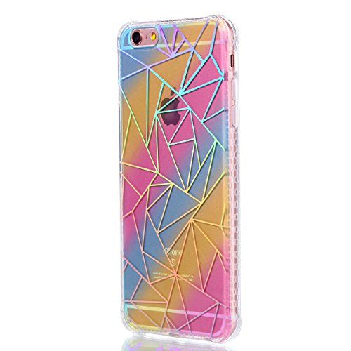 Custodia per iPhone 6 6S 4.7 Pollici,SKYXD Lusso Luminosa Brillante Strass Pteris Rainbow Cover Trasparente Silicone Antiurto Case per Apple iPhone 6S/6 con Brillantini Spina Della Polvere e Carino St Triangolo
