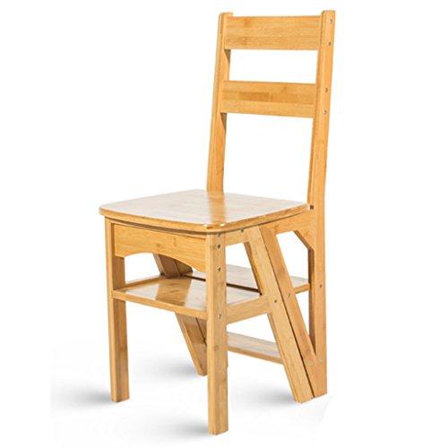 JJJJD Bambushaushalts Multifunktions Trittleiter Massivholz Hocker Kind Klappstuhl Dual-Use-Vier-Stufen-Leiter Klettern Hohe Leiter (Farbe : Holz)