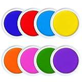 Huisenuk Stempelkissen für Fingerabdrücke, Fußabdrücke, Gummistempel, abwaschbar, in Regenbogenfarben, groß, 8Stück 8 Farben