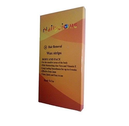 Enthaarungsmittel Wachsstreifen Mit Ready Wax Enthält Aloe Vera und Vitam, in E für Körper und Beine 20 Stück pro Packung.