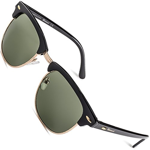 Rivacci Sonnenbrille Herren Schwarz Damen Männer Frauen Vintage Polarisierte - Retro Polarized Sunglasses Men Woman 80er with Case Gold / G15 (Grün/Grau)