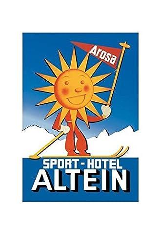 Sport Hotel Altein: Sun-Headed Skier Print (Canvas Giclee 12x18) by Buyenlarge