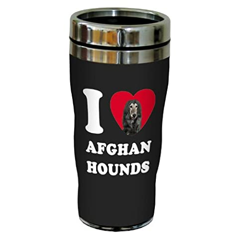 Tree-Free Greetings SG25145 I Heart Afghan Hounds Sip 'N Go Stainless Lined Travel Tumbler, 16-Ounce, Black by Tree-Free Greetings