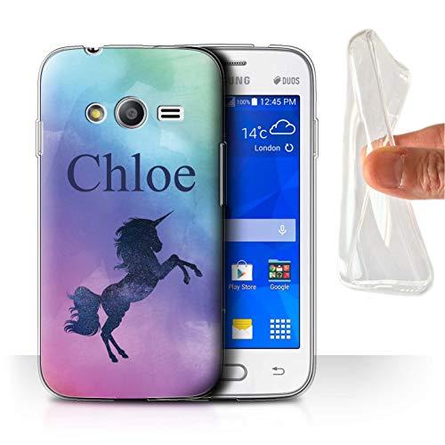 eSwish Personalizzato Unicorno Fantasia Grafia Personalizzato Custodia/Cover Gel/TPU per Samsung Galaxy Trend 2 Lite/G318 / Scintillio Neon Ombre Design/Iniziale/Nome/Testo Caso/Cassa