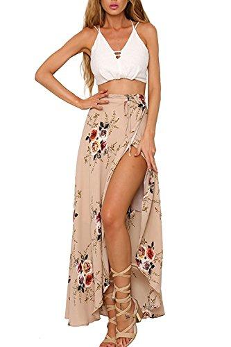 Tomsent Damen Elegant Lässig Boho Ethnische Drucken Asymmetrisch Slits Maxi Rock Lang Kleid Wickelrock Long Skirt Strand Rosa DE 36