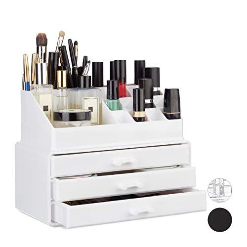 Relaxdays Make Up Organizer klein, 2-teilige Schminkaufbewahrung mit 3 Schubladen, stapelbares Kosmetikregal, weiß