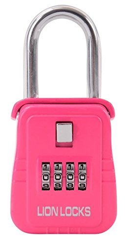 Lion Locks 1500 Key Storage Lock Box with Set Your Own Combination, Pink by Lion Locks -