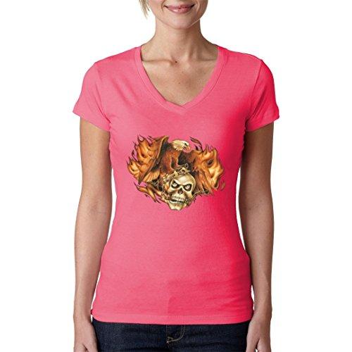 Biker Girlie V-Neck Shirt - Brennender Adler mit Totenkopf by Im-Shirt Light-Pink