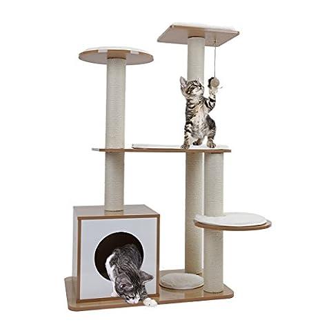 Speedy Pet Style de meuble Scratch Poster Arbre de chat avec Balle suspendue Couverture en laine pour Chatons Jouet Maison Couleur Beige