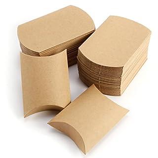 Anladia 100 x Kraftpapier Kissen-Süßigkeit-Kasten Geschenkbox Geschenkschachtel Geschenkverpackung Versorgungsmaterial Gastgeschenk Hochzeit Tischdeko