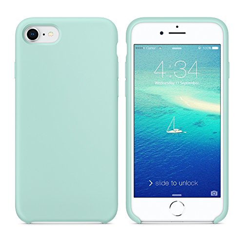 Surphy cover iphone 8, cover iphone 7, custodia iphone 8 7 silicone slim cover antiurto con morbida microfibra fodera, ultra sottile cover case per apple iphone 8 iphone 7 4.7 pollici, verde mare