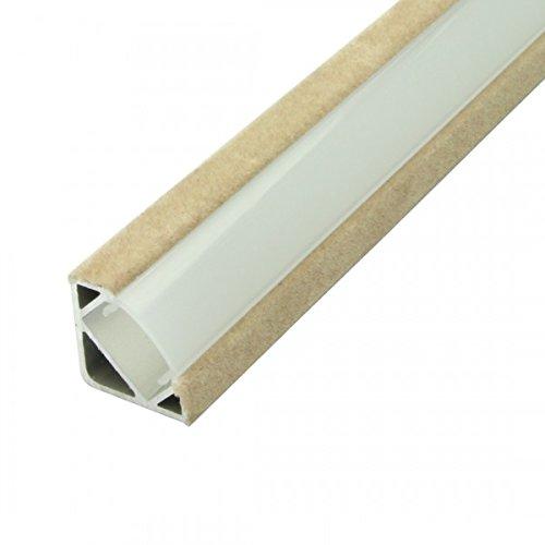 1m Aluminium Eckprofil Beflockt P3F für LED-Streifen Opal Abdeckung (Beige) -