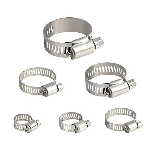 COOLGO - Pinzas de sujeción para manguera (30 unidades, ajustables, 10 – 38 mm, con caja de almacenamiento)