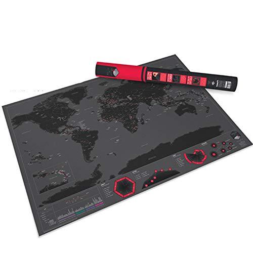 Cheyal scratch the world: locandina del mondo, mappa dettagliata del mondo in oro nero versione city travel specifiche regalo 82,5x59,4cm