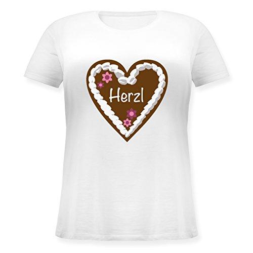 Oktoberfest Damen - Lebkuchenherz Herzl - XL (50/52) - Weiß - JHK601 - Lockeres Damen-Shirt in großen Größen mit Rundhalsausschnitt