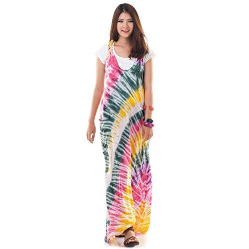 Langes Hippie Batik Kleid Baumwolle S M 36 38 40 42 (Gelb) (Spaghetti Tunika Max Der)