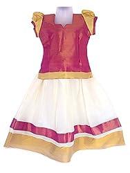 Pkd Girls Ethnicwear Pattupavada MAGENTA / CREAM