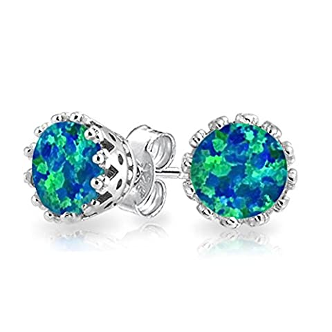 LANMPU Jewelry 925 Silver Crown Synthetic Blue Opal October Birthstone